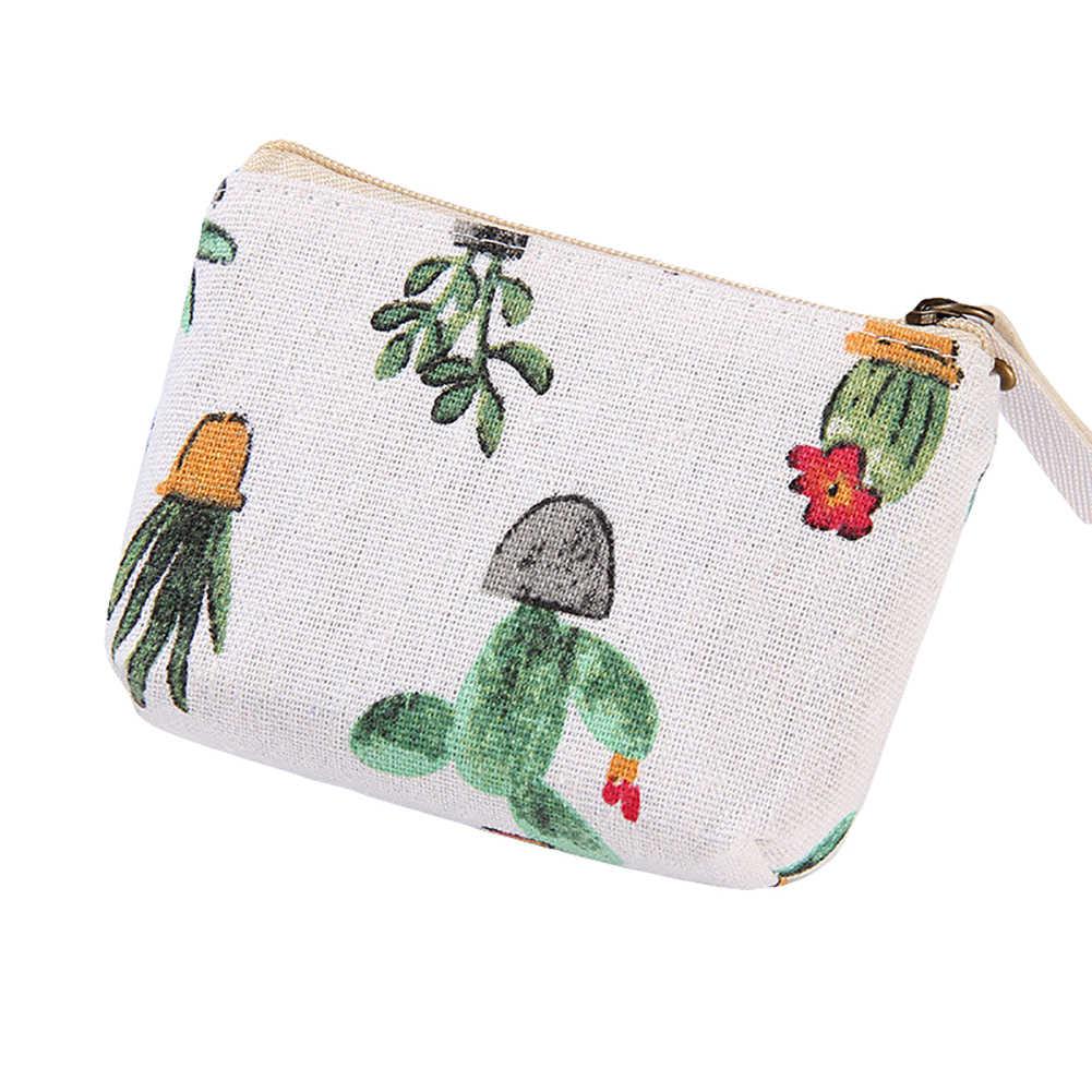 Mulheres Flamingo 1 pc Popular Estrela Cactus Padrão Coin Purse Saco Zip Meninos Criança Meninas Mini Carteira Bolsa Portátil