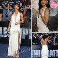 2013 Rihanna Red Carpet Dress Sexy Deep V-neck A-line Open Back Floor length Chiffon Celebrity Dresses
