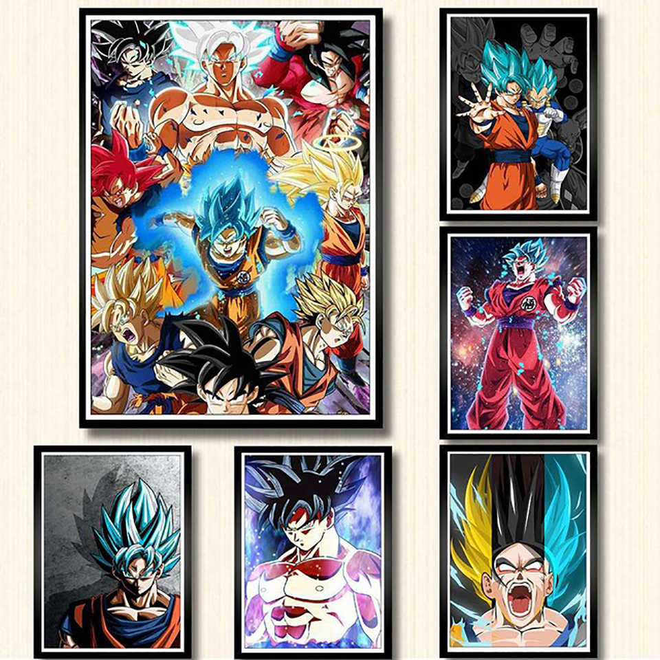Dragon Ball Z Goku Anime Poster Nordic Style Wall Art Fashion Canvas Painting Prints Cartoon Modular Pictures Home Decoration