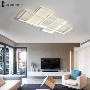 Image 4 - 블랙 & 화이트 현대 LED 샹들리에 거실 침실 홈 비품 Led 천장 샹들리에 실내 조명 Lampara de techo