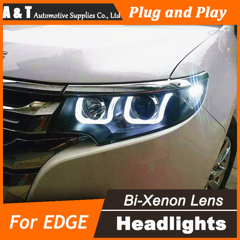 A&T Car Styling for Ford EDGE Headlights EDGE LIMITED LED Headlight DRL Lens Double Beam H7 HID Xenon bi xenon lens