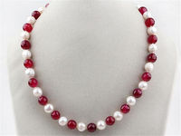 06315 White Freshwater Pearl And Red Ruby Round Beads Necklace 18