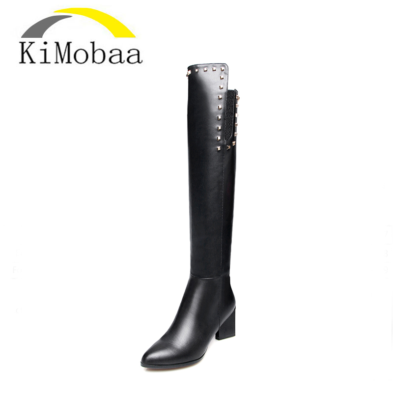 Kimobaa Thigh High Boots for Women Over-the-knee Winter Long Boots Rivets Women's Shoes Black 6.5cm Heel Genuine Leather+PUTX161 women over the knee boots black velvet long boots ladies high heel boots sexy winter shoes chunky heel thigh high boots