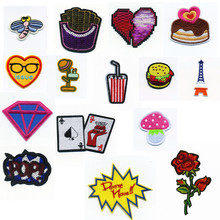 Small Cartoon Heart Lovely Cake Patch Embroidered Iron On Patches For Clothing Embroidery Design diy Accessories
