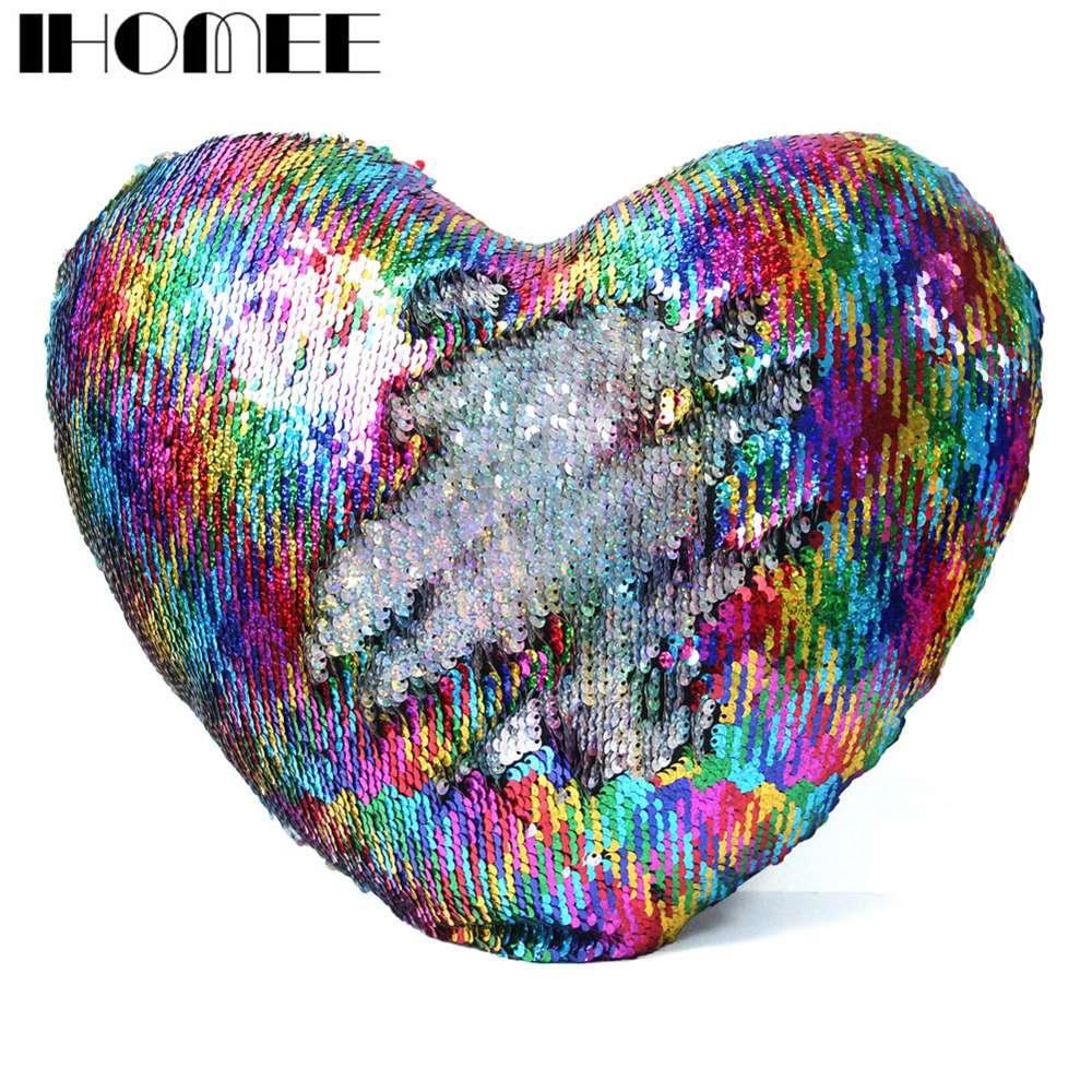 IHOMEE Beautiful Sequins Mermaid Pillow Heart Shaped Decorative Pillows for sofa Reversible Throw Pillows Cushions Home Decor