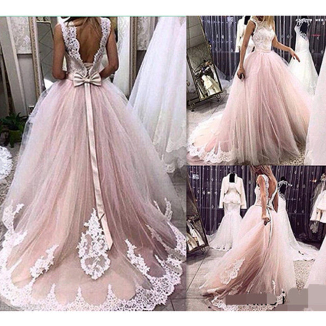 MZYE31 Princesa Tulle Appliques Vestido de Novia de Encaje Rosa ...