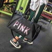 Большая вместительная модная дорожная сумка новейший дизайн с блестками розовая сумка для фитнеса с разделителем для сухого и влажного спо...