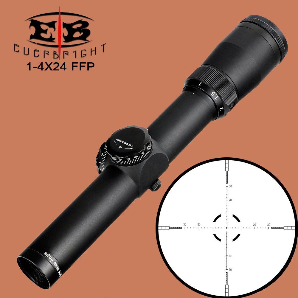 EB 1-4X24 Tactical Compact Scope FFP Optical Sights First Focal Plane Glass Reticle Hunting Riflescope Wide Angle For Rifle