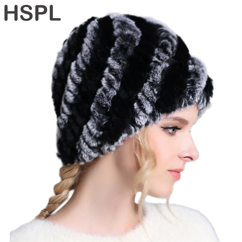 HSPL Fur Hat Women 2017 Winter Natural Genuine Rex Rabbit Fur Cap Knitted Hats For Winter Fashion Women Beanies bone Warm Cap