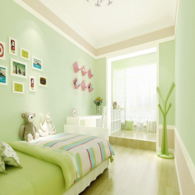 Free Shipping Modern Pvc Pure Color Wallpaper Light Blue Lavender Clothing Milk Tea Bedroom