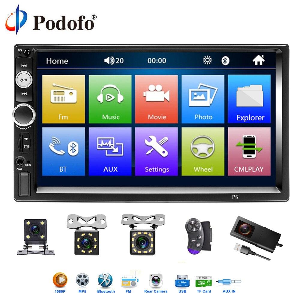 Podofo 2Din автомобиля Радио 7 мультимедийный плеер Сенсорный экран Авто аудио стерео MP5 Авторадио Зеркало Ссылка DVR BT/USB/TF/FM Камера