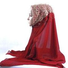새로운 도착 프리미엄 버블 쉬폰 hijab 스카프 이슬람 여성 골드 진주 반짝이 이슬람 turban 머리띠 시니 목도리 170*70cm
