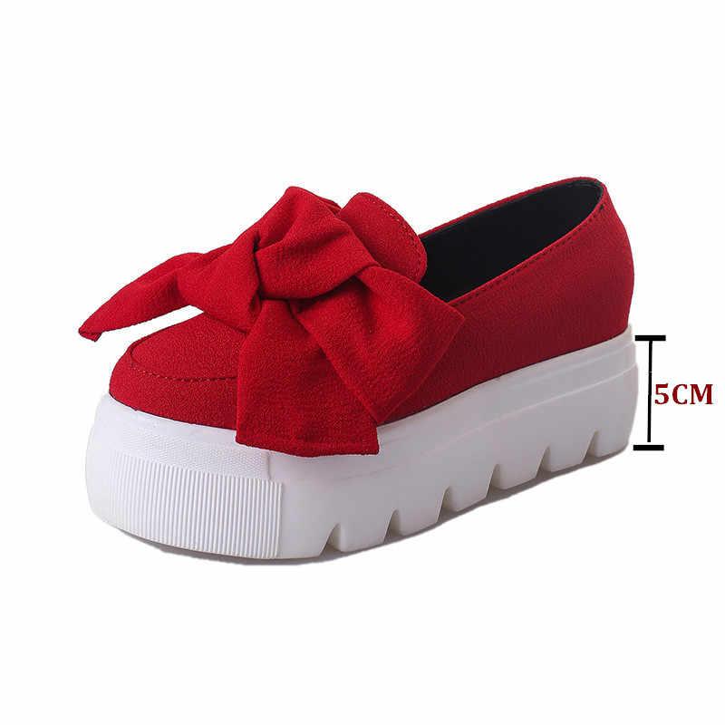 Cuculus 2020 sonbahar kadın ayakkabı papyon muffin ağır dipli Platformquality kadınlar Flats moda makosen ayakkabılar kadın rahat ayakkabılar 1379