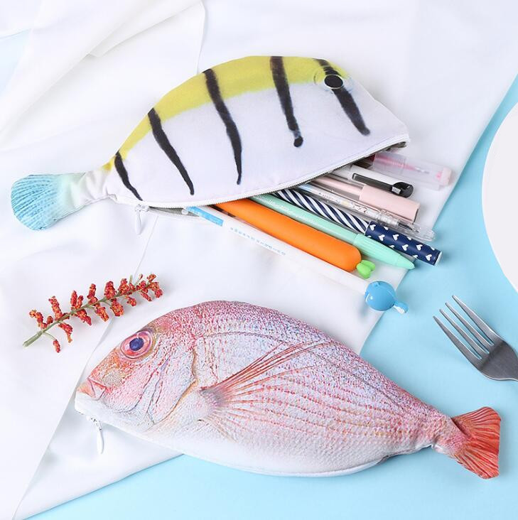 1 PC Fish Shape Pencil Case Kawaii Korea Style Cloth Pencils Bags School Supplies Stationery Pencil Case Holder