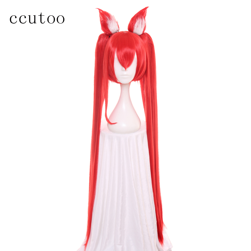 Ccutoo 100cm LOL League Of Legends Jinx Magic Girl Cosplay Wig Synthetic Hair For Women Party Costume Wig + Chip Ponytails+Ears