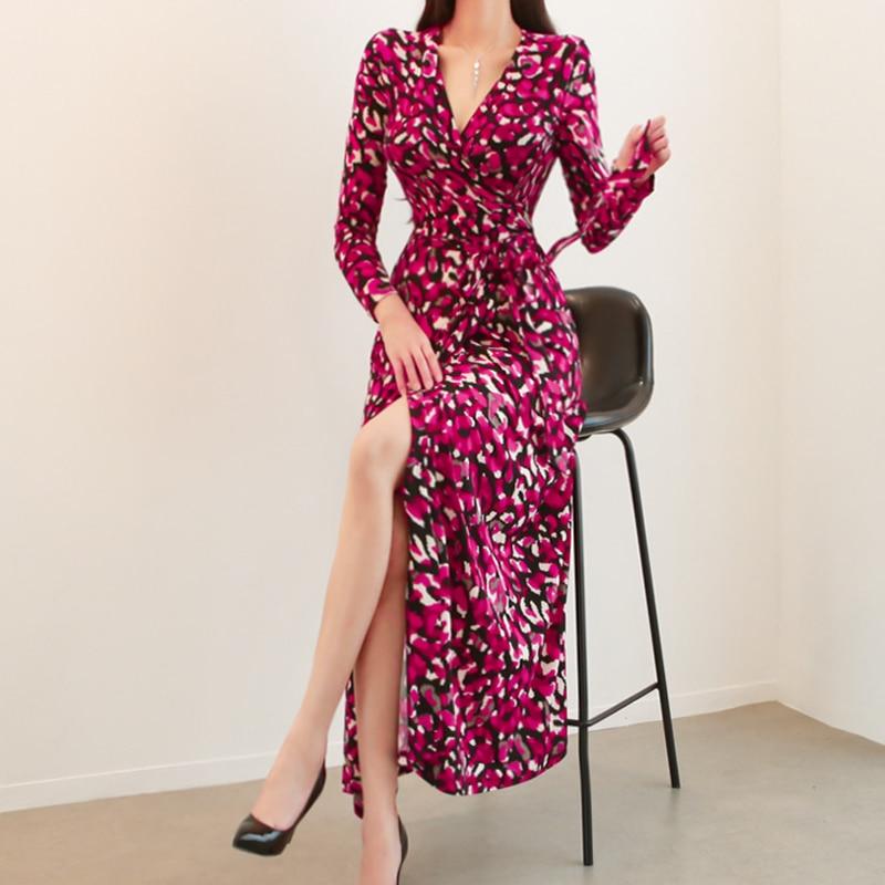 As Ete Vêtements Automne Maxi Pic Femme Nouveau Coréen D'hiver Soirée Longues Robes Vintage De Mode Robe Femmes Manches 2018 4wfT6q
