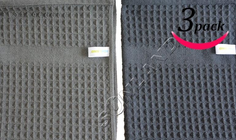 Sinland 400 GSM 마이크로 화이버 와플 위빙 주방 수건 드라이 클리닝 천 3 팩 16inch X 26inch 40cmx66cm Black and Gray