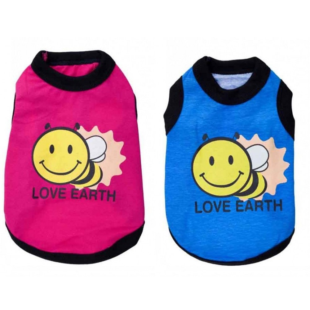 Cute Little Bee Pattern Apparel Dog Clothes Pet Clothing Spring And Summer Cotton Puppy Cat Vest Free Shipping AA-11#