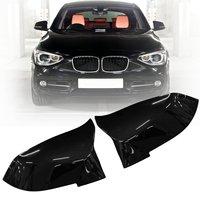 Pair Gloss Black Rearview Mirror Cover For BMW F20 F21 F22 F30 F32 F36 X1 F87