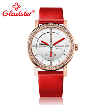 Gladster Luxury Japan MIYOTA 1L45 Fashion Lady Watch Simple Red Leather Women Quartz Wristwatch Casual Charm Female Analog Clock