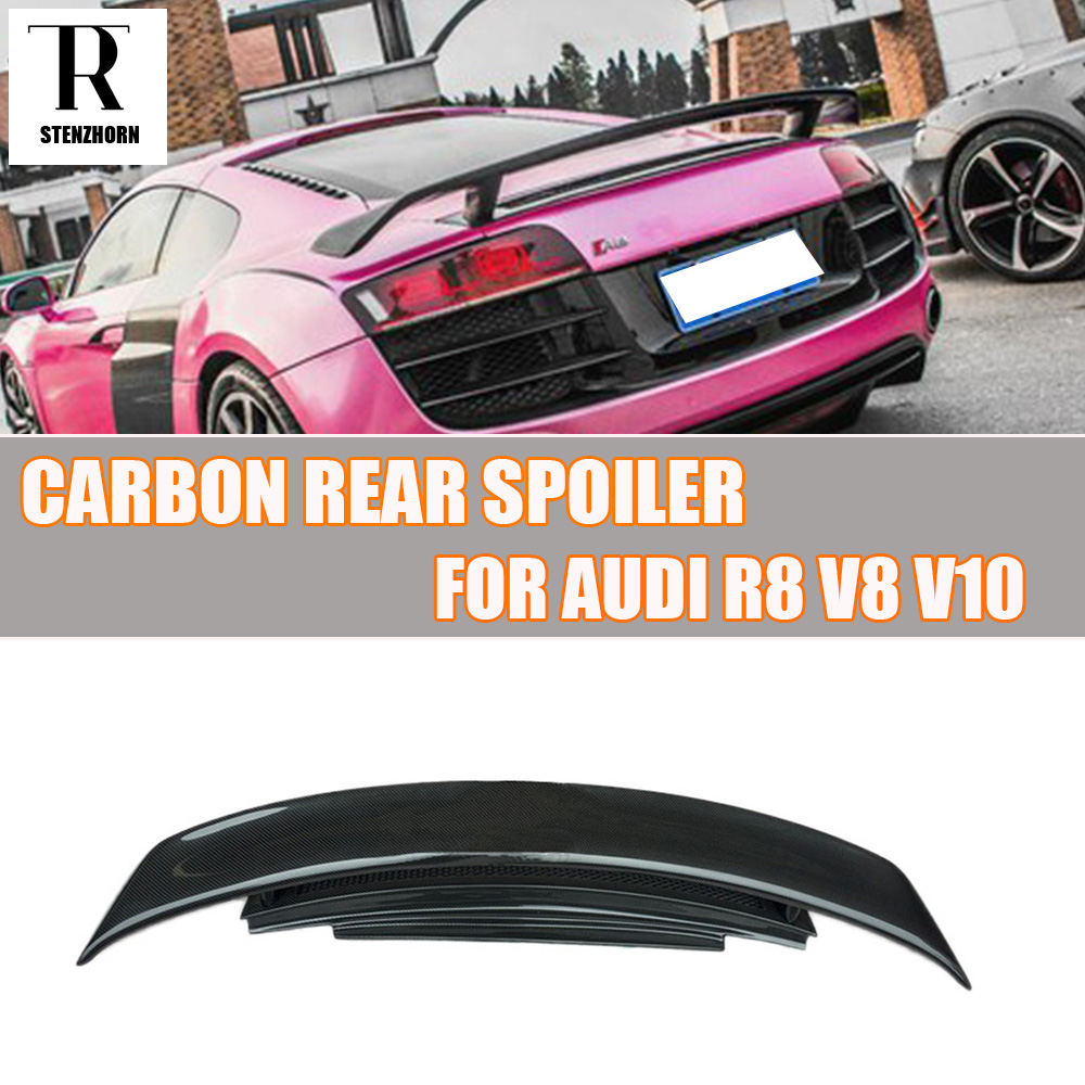 GT Style R8 kolfiber bakre bagagerumspoiler för Audi R8 V8 V10 2007 - 2016 Bilracing Car Styling Bakre Lip Wing Spoiler