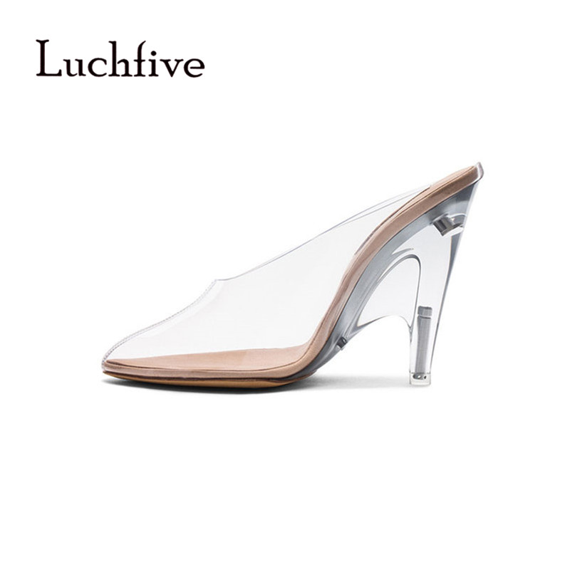 New Arrival transparent women slippers pointed toe thin heels shallow slip on women shoes sexy geninue leather zapatos mujer new zapatos mujer ultra high heels embroidery boss lady pointed toe stilettos slip on shallow pumps leather women party shoes