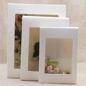 Image 5 - 20 piezas caja de papel con ventana para manualidades, embalaje de pastel Blanco/Negro/Caja de Regalo de Papel kraft para boda, fiesta en casa envases para muffins