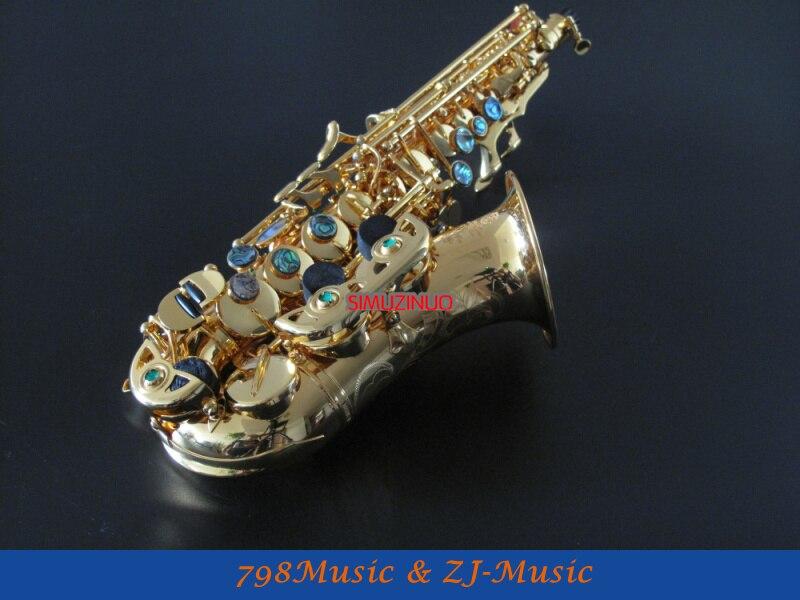 Nuevo Profesional Bb Soprano curvado saxofón alto F # GOLD PL ATED