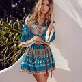 2017 de la impresión de bohemia dress floral colorido mini dress ruffles sexy beach holiday boho manga flare dress sexy vestidos