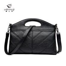 LI REN NIAO 2017 Quality Split Leather Women Clutch Bag Black  Chains Women Messenger Bags Handbag Brand Fashion Clutch LRN-2568