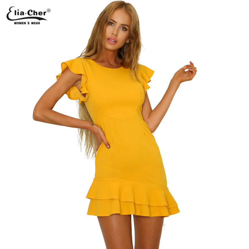 New Fashion Hot Sale Women Solid Color Natural Simple O-Neck A-Line Butterfly Sleeve Ruffles Dress Casual Daily Party Dress 9170
