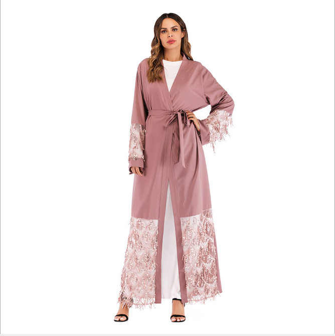 2e530c54d16 ... Muslim Sequins Mesh Nida Abaya Maxi Dress Cardigan Long Robe Gowns  Jubah Kimono Ramadan Arab Islamic ...