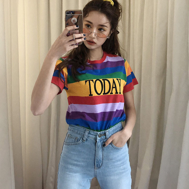 b814194bbbc 2019 Summer Fashion Streetwear Women Colorful T Shirt Rainbow Striped Today  Letter Casual T-shirt Harajuku Tumblr Tops Tees