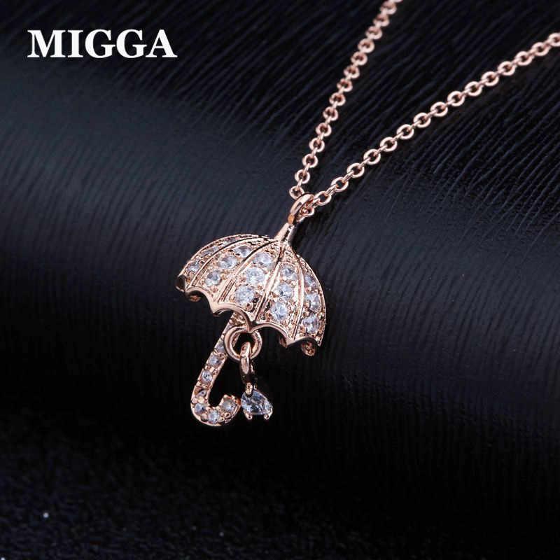 MIGGA marque or Rose couleur mignon parapluie pendentif collier mode cubique Zircon collier fille cadeau