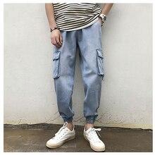 Fashion Men Jeans Casual Pants Jogger Men Fitness Trousers Male Ankle Length Men Loose Jeans Large Size 5XL