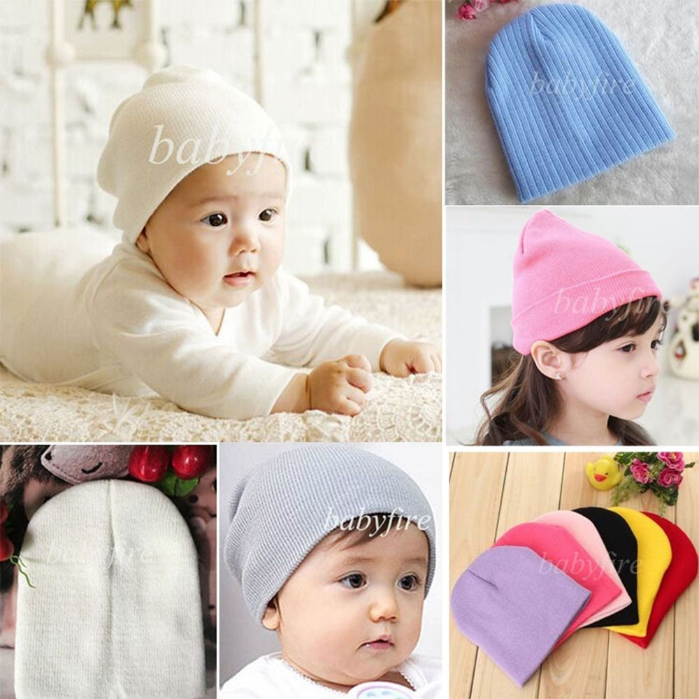 Baby Warm Plain Skull Cap Beanie Candy Solid Color Knit Wool Crochet Slouch Hat\