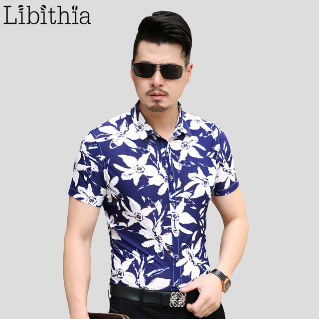 Men 100% Mercerized Cotton Dress Shirts Slim Fit Mens Floral Shirt Big Size M-7XL Short Sleeve Blouse Fashion Summer Camisa S247