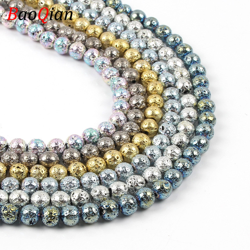 Natural Color Volcanic Hematite Beads DIY Various Color Sizes Making Creative Necklace Bracelet Jewelry Accessories 4/6/8 / 10mm(China)