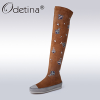 Odetina Moda Genuine Leather Suede Over-the-Knee Boots Kobiety Cute Animal Haft Długie Buty Lady Płaskiej Platformie rozruchu Brown