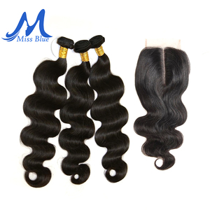 Image 1 - Missblue 3 Bundles With Closure Peruvian Hair Weave Bundle With Lace Closure Body Wave 100% Remy Human Hair Bundles With Closure