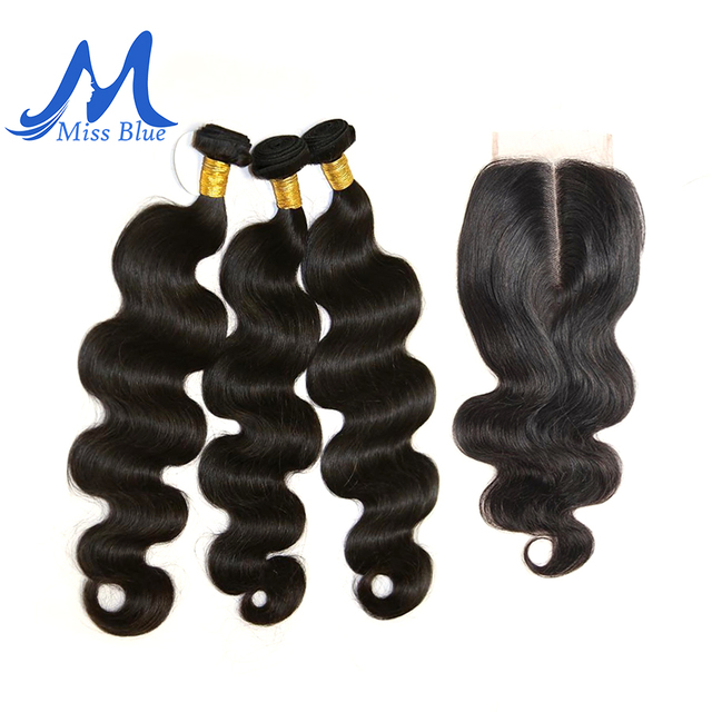 Missblue 3 Bundles With Closure Peruvian Hair Weave Bundle With Lace Closure Body Wave 100% Remy Human Hair Bundles With Closure