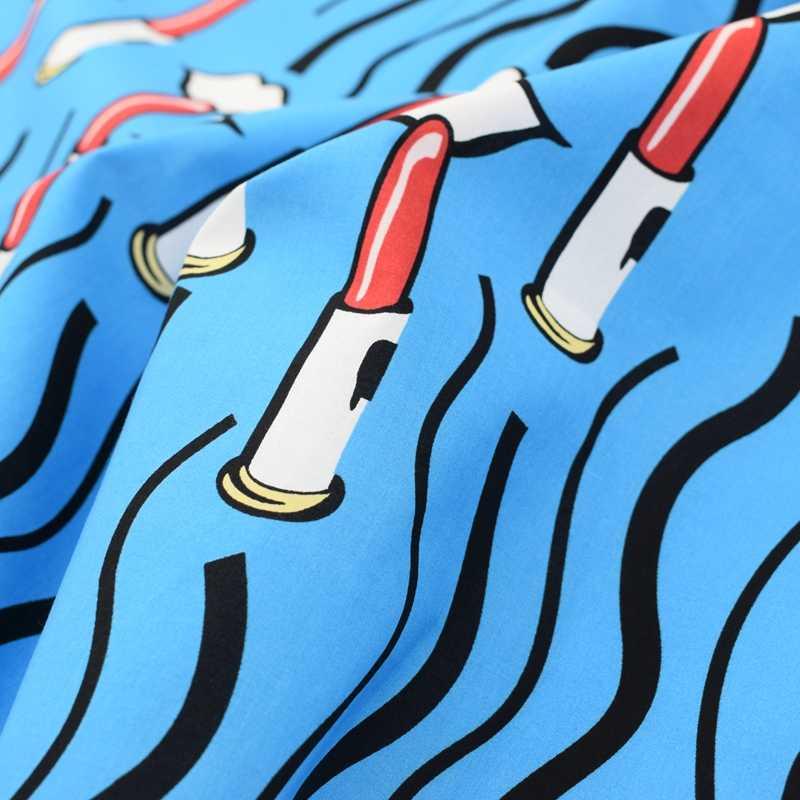 Il fondo azzurro del cielo onde rossetto tintura reattiva puro tessuto di cotone per il vestito da estate telas por metros tissu au metro abiti