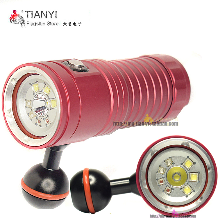 Activefire underwater video lihgt lamp Diving Torch 32650 led Torch LED Flashlight photo lantern for photographer XM L2 UV red-in LED Flashlights from Lights & Lighting