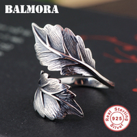 BALMORA 100 Real 925 Pure Silver Jewelry Vintage Leaves Rings For Men Male High Quality Silver