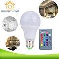 Brightinwd e27 rgb lâmpada led 3 w 5 w 10 w led rgb lâmpada SMD5050 DIODO EMISSOR de Luz 110 V 220 V Para Casa Decoração 16 Cores Controle Remoto IR controlador