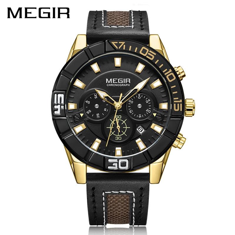 цены на MEGIR Fashion Quartz Sport Watch Men Clock Hour Relogio Masculino Creative Chronograph Wrist Watch 2066 Army Military Watches в интернет-магазинах
