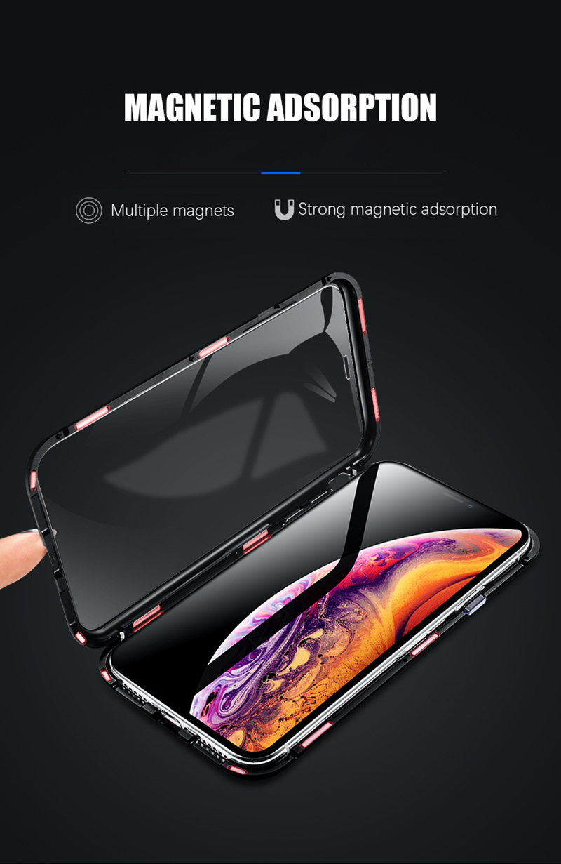 Luxury Double glass Metal Magnetic Case for iPhone XS MAX iPhone X XR 7 8 Plus 8plus Phone Case Magnet Cover 360 Full Protection (7)