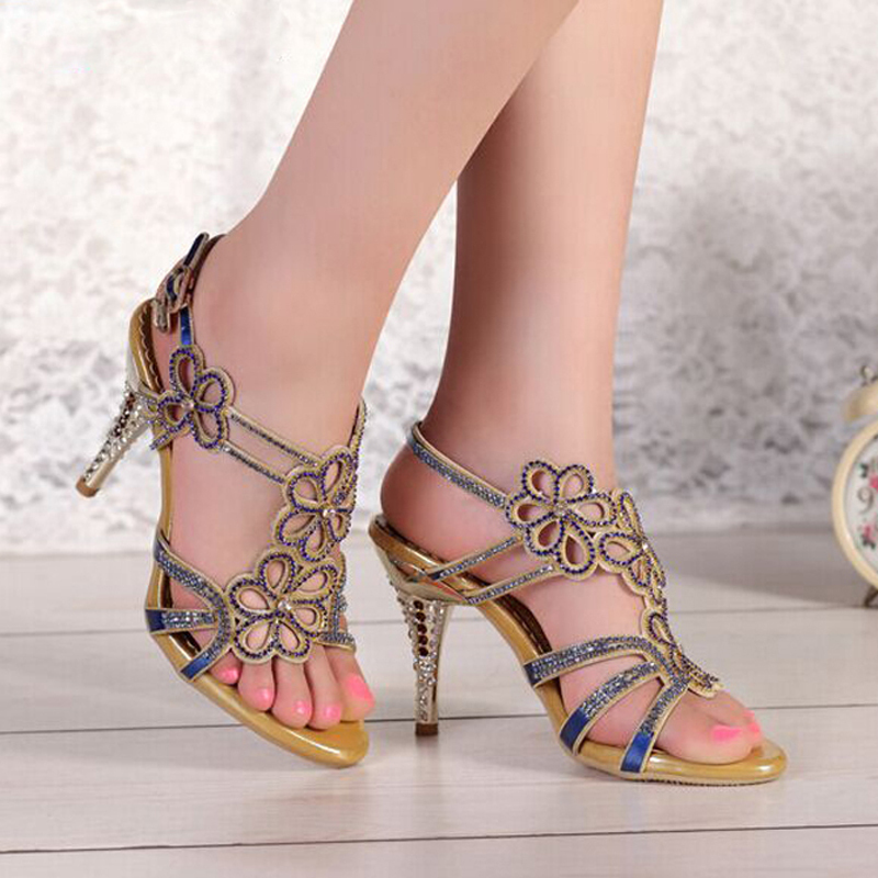 Female Sandals Rhinestone Ultra High Heels Thin Heels Blue and ...