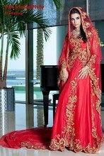Gold Embroidery 2016 Muslim Dresses Islamic abaya vestido de noiva Red Veil Long Sleeves Luxury Wedding