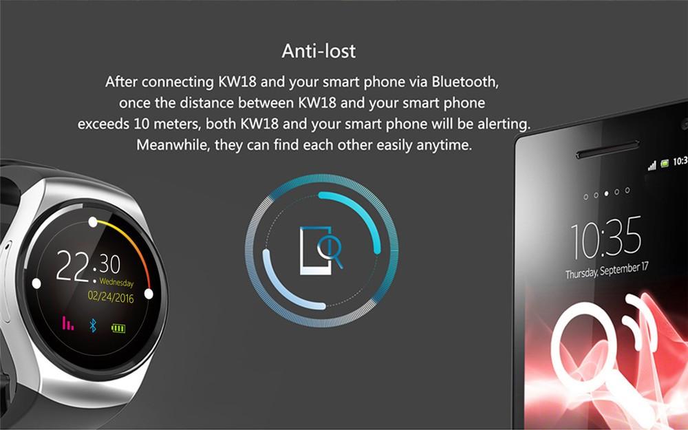 2016 New Product KW18 Smart Watch Android IOS Digital watch Bluetooth Reloj Inteligente SIM Round Heart Rate Monitor Watch Clock43